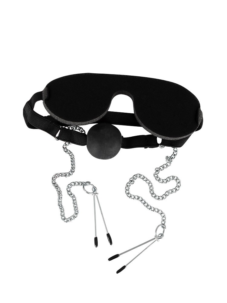 Bad Kitty Augenmaske mit Knebel und Nippelklemmen, schwarz