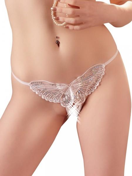 Ouvert-String: Schmetterling, weiß