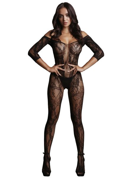 Le Désir Lace Sleeved: Ouvert-Netzcatsuit, schwarz