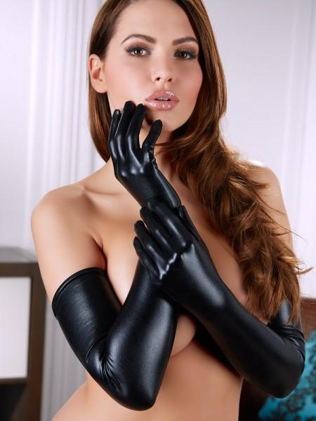 Wetlook-Handschuhe, schwarz