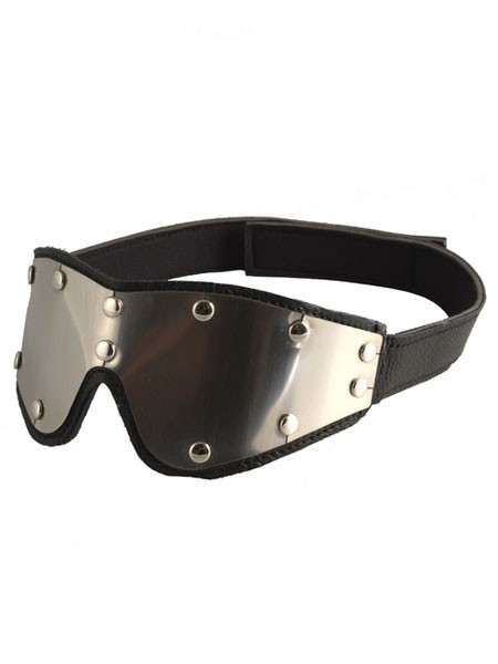 Leder-Metall-Augenmaske mit Schloss
