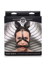 Master Series Dark Horse Pony Head: Kopf-Harness mit Knebel, schwarz