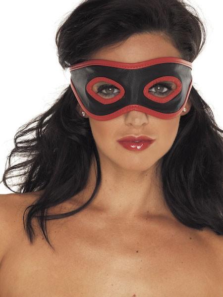Leder-Augenmaske offen, schwarz/rot