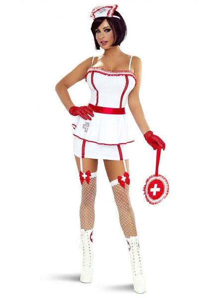 Provocative PR1302: Krankenschwester-Kostüm, weiß/rot