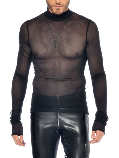 Patrice Catanzaro Snow: Langarm-Netzshirt, schwarz