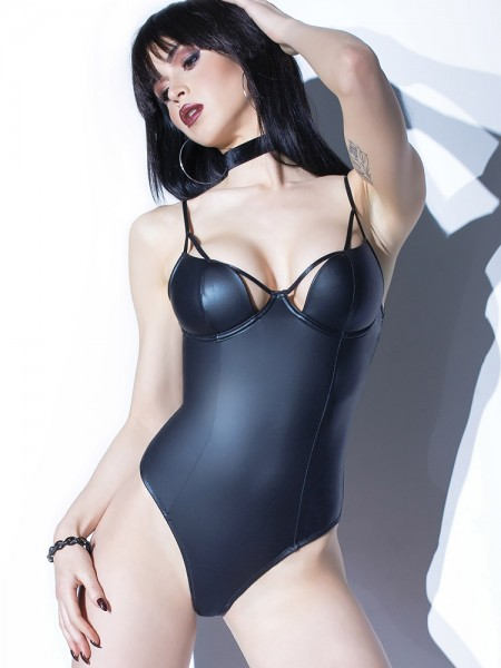 Coquette: Wetlook-Stringbody, schwarz