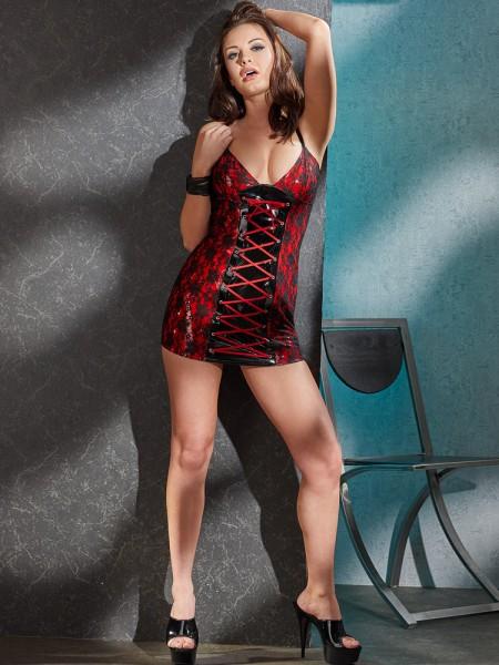 Lack-Minikleid, rot/schwarz