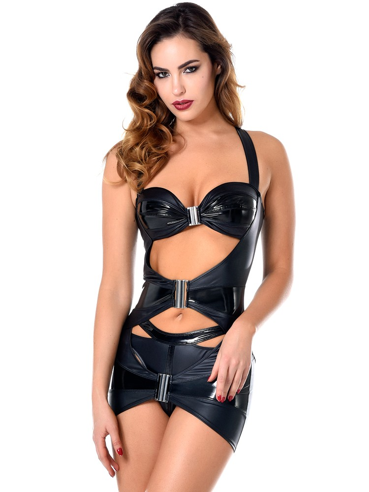 Patrice Catanzaro Verity: Wetlook-Lack-Minikleid, schwarz