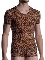 MANSTORE M2001: V-Neck-Shirt, ozelot