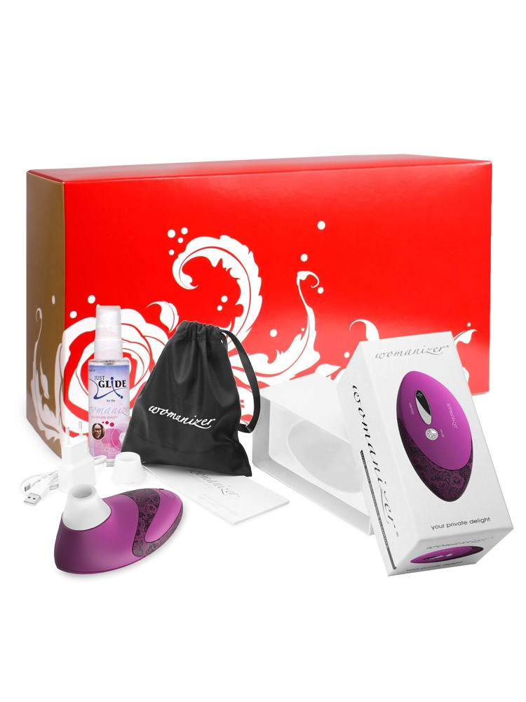 Womanizer Box: Womanizer Pro Magenta + Gleitgel, magenta/lace