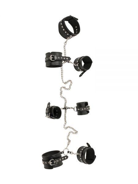 Leder-Körperfessel mit Nieten und Ketten, schwarz