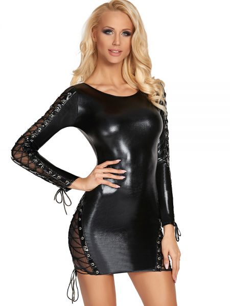 7-Heaven Wetlook-Minikleid: D182, schwarz