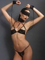 KINK: Ouvert-Set mit Fesseln und Augenmaske, schwarz