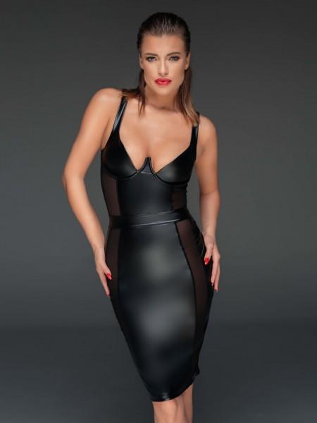 Noir Handmade: Wetlook-Kleid mit Netzeinsätzen F151, schwarz