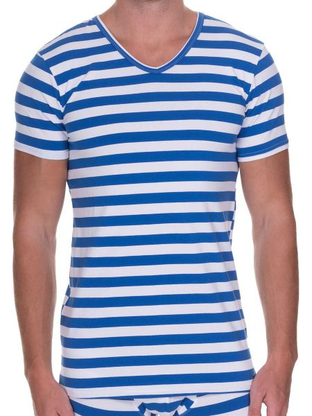 Bruno Banani Sailor: V-Neck-Shirt, blau/weiß
