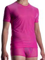 MANSTORE M2056: V-Neck-Shirt, fuxia