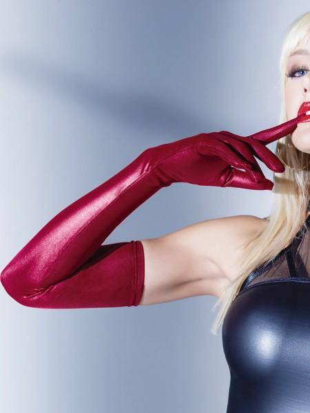 Coquette: Wetlook-Handschuhe, merlot