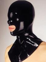 Latex-Kopfmaske mit Mundöffnung und Kragen, schwarz