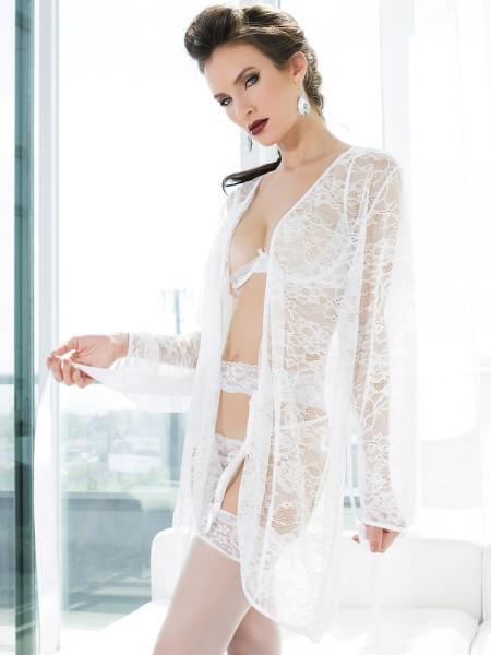 Coquette Spitzen-Kimono: Blushing Bridal, weiß