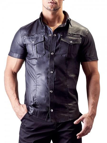 Kunstlederhemd, schwarz