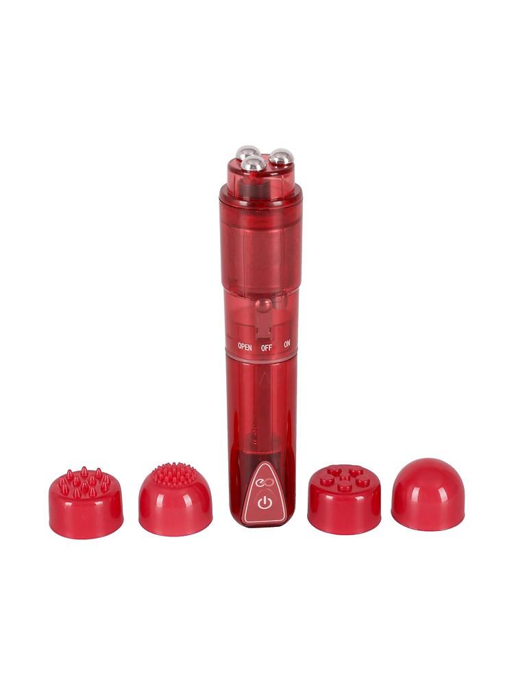Vibrant: Minivibrator mit 4 Aufsätzen, rot