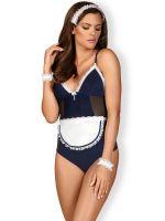Obsessive Zimmermädchen-Kostüm, blau/weiß