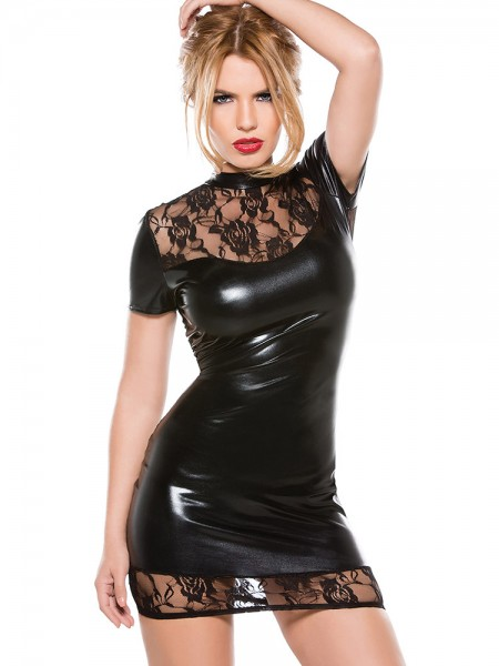 Kitten: Wetlook-Spitzen-Minikleid, schwarz