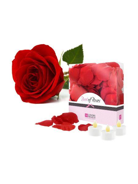 Lovers Premium Bed of Roses: Rosenblätter-Kerzen-Set, rot