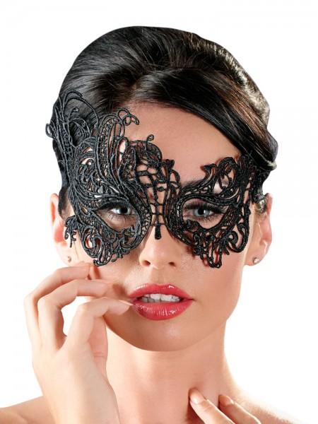 Augenmaske mit Stickerei, schwarz
