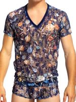 L'Homme Constellation: V-Neck-Shirt, blau