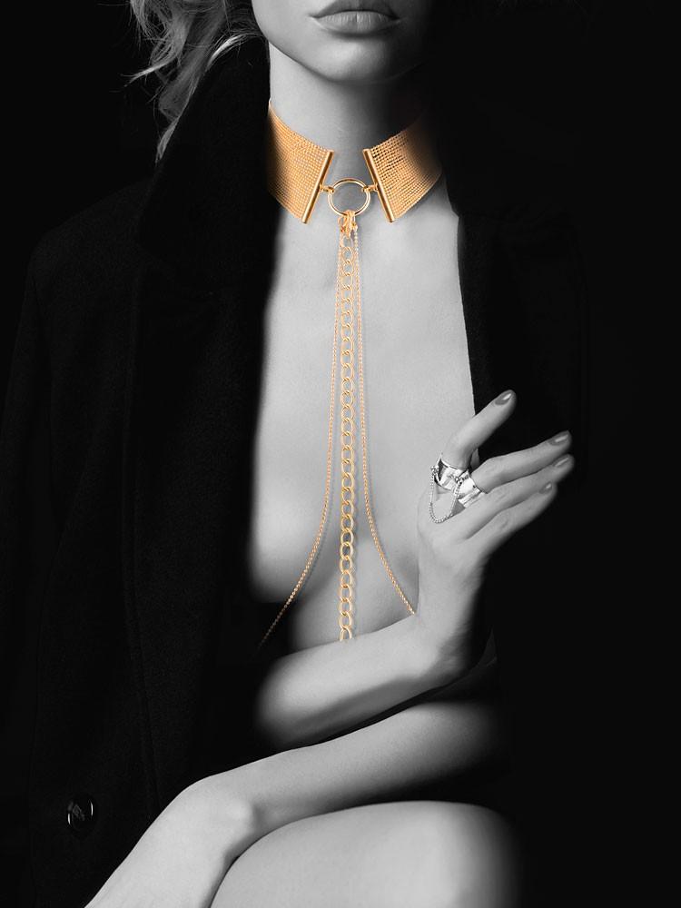 Bijoux Indiscrets The Magnifique: Halsfessel mit Kette, gold