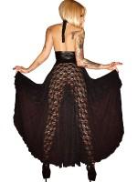 Noir Handmade: Spitzen-Wetlook-Abendkleid, schwarz