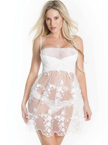 Coquette Babydoll: Bouquet of Flowers, weiß