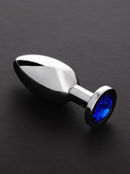 Triune Jeweled Butt Plug Blue: Edelstahl-Analplug mit Kristall, blau