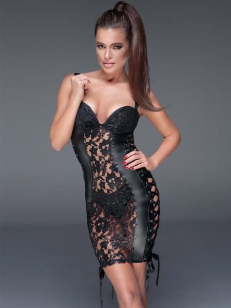 Noir Handmade: Wetlook-Spitzen-Kleid F146, schwarz