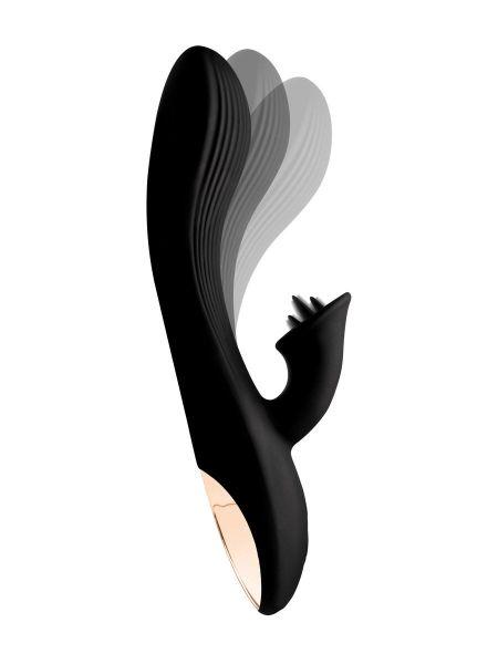 Wonder Vibes 7X Bendable Silicone Clit Stim: BunnyVibrator, schwarz/roségold