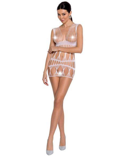 Passion BS089: Netz-Minikleid, weiß