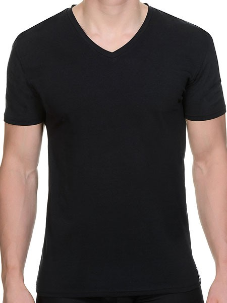 Bruno Banani Cotton Coloured: V-Neck-Shirt, schwarz