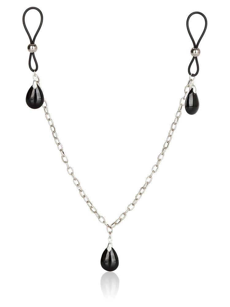 Nipple Chain Jewelry: Nippelschlaufen mit Kette, schwarz