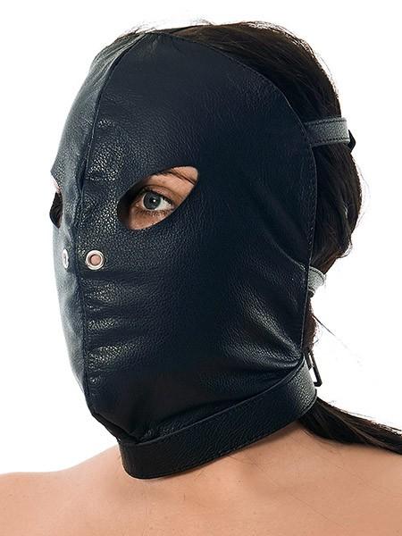Leder-Kopfmaske mit Schnallen, schwarz