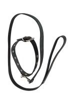Leder-Halsfessel mit Führleine, schwarz