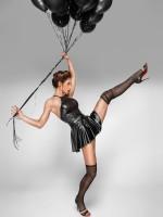 Noir Handmade: Wetlook-Netz-Minikleid F184, schwarz