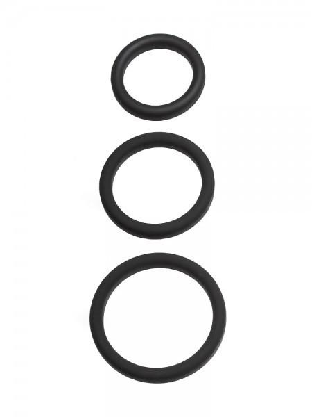 Perfect Fit Xact-Fit 3-Ring-Kit S-L: Penisringe-Set, schwarz