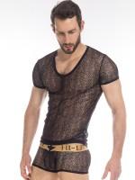 L'Homme Axel: V-Neck-Shirt, schwarz