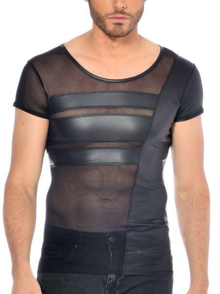 Patrice Catanzaro Benjen: Netz-Wetlook-Shirt, schwarz